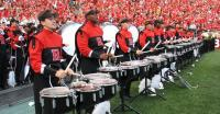 Photo of Rider drummer marches to the Rutgers band tune