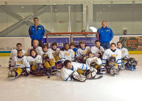 Photo of Broncs welcomes sled hockey team