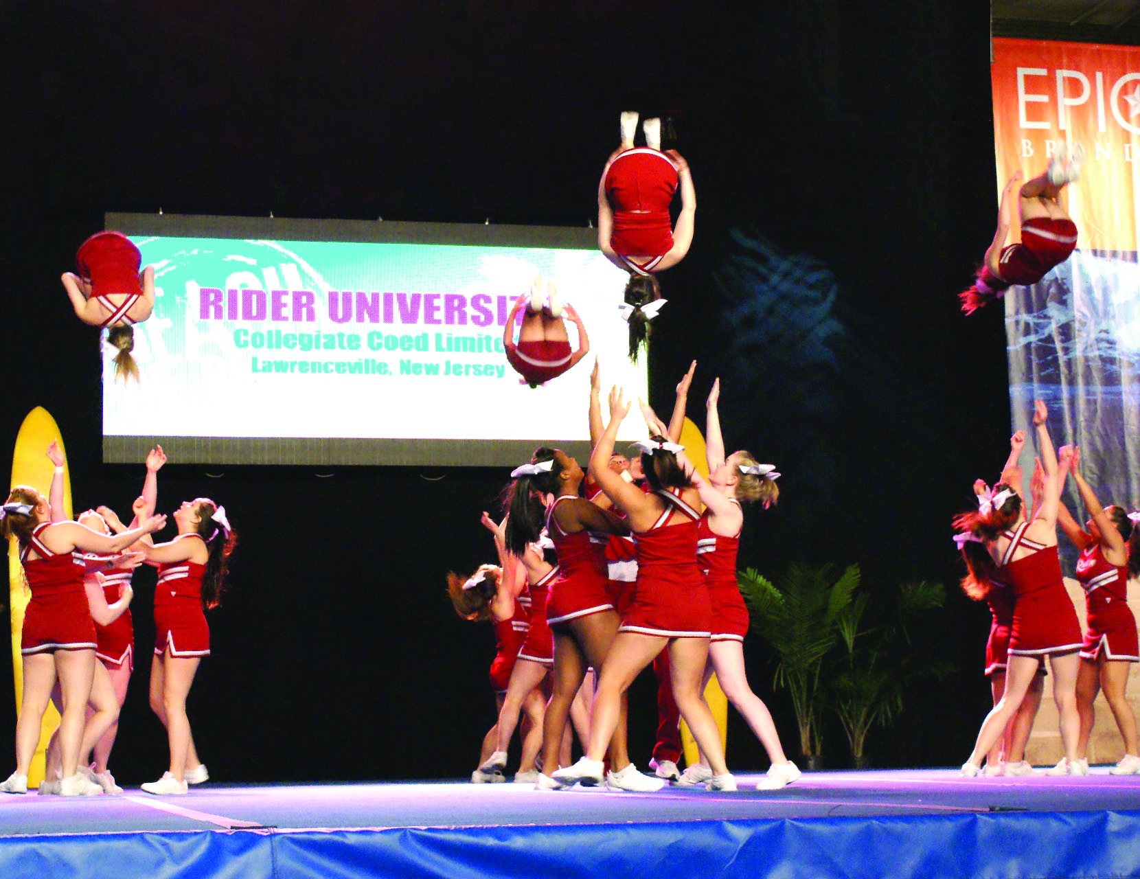 Rider Cheerleaders Emble In Their American Cheer And Dance Reach The Beach Le Winning Performance On April 7 Ocean City Md Win Marks