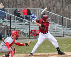 Junior first baseman Justin Thomas collects four hits and two RBI in the series against St. Peter's.