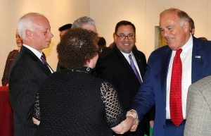 Former Pa. Gov. Ed Rendell, right, shakes hands and speaks with the Rider community on April 1.
