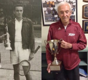 Tennis Head Coach Ed Torres won first place at the Rider Invitational in 1952. At right, he holds his  player of the year cup from his college days.