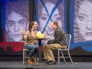 Stephanie (senior Melissa Saint-Amand) and Greg (senior Greg Clark) break up after seeing each other for the first time since the initial blow-up fight that starts the play.