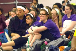 Westminster students listen closely to WCC student body President Justin Su'esu'e's story about the loss of both parents to cancer.
