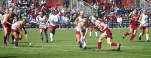 Freshman midfielder Allison Baligian, third from right, drills a shot past two Lock Haven defenders for the winning goal on Oct. 5. It was the Broncs' first victory against the Bald Eagles in three years.