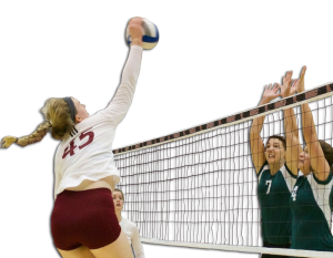 Freshman right side hitter Jennifer Borio spikes in the Broncs' 3-2 win over Manhattan on Oct. 4.