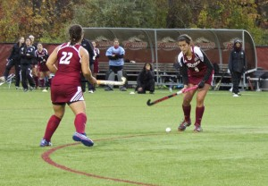 Carlota Alsina, right, scored both the opening and game-winning goals against Bryant on Oct. 31.