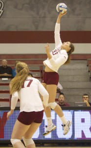 Senior Jaclyn Webber totals 12 kills against St. Peter's on Nov. 8.