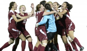The Broncs celebrate after scoring the winning penalty kick. The team will travel to Seattle to play Washington on Nov. 14.