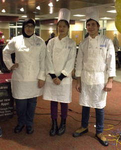 "Zarefah Farraj-Ahmad, left, Ye-Jin Min, and Marlon Fiacco all competed in the ""Rider Student Top Chef:  International Buffet"" World Championship, where Fiacco took home first prize."