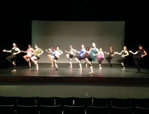 "Rider Dance Ensemble members rehearse for the number ""Footloose,"" which was choreographed by seniors Elizabeth Smith and Alyssa Zara. The show will take place Dec. 6 and Dec. 7 in the BLC Theater."