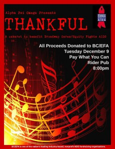 Alpha Psi Omega (APO) has decided to dedicate its second annual benefit fundraiser show, Thankful, to giving back to others.