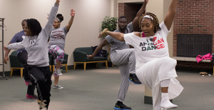 An African Dance Class led by Egun Omode Shule was held on Feb. 10 in the Fireside Lounge. Attendees learned not only African dance moves, but also about the history behind the specific dances.