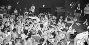 Jimmy G of the punk band Murphy's Law dives into the crowd of excited fans during one of many performances at City Gardens in Trenton.