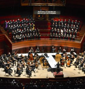 The Westminster Symphonic Choir and the Philadelphia Orchestra,  conducted by Yannick Nézet Séguin, perform together in 2013.