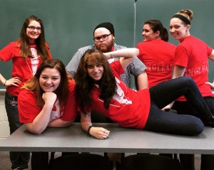 Some of the Arts Events and Festivals Management students working on ArtBeast. Back row (L to R): Hannah Morris, Steve Rotundo, Samantha Weigand, Bethanie Russakow. Front row (L to R): Laura Wilson, Ariana Albarella.