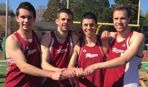 From left, Derek Lake, Dylan Hallahan, Brad Kaufmann and Jon Knipper broke Rider's 4x1500 record, which was set in 1994, at the Colonial Relays on April 4.