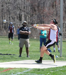 Andrew Pozo broke a school record in the hammer throw at the Rider Invite on April 11.