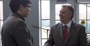 Westminster freshman Jason Diaz greets President Dell'Omo on March 27.