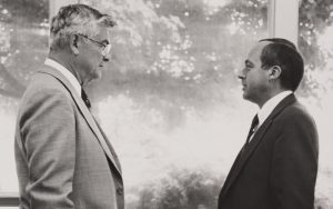 Frank N. Elliott, left, Rider University's fourth president who passed away last week, speaks with then Vice President, J. Bart Luedeke, who succeeded him as president.