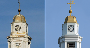 The Williamson Hall clocktower on the Princeton campus received a repainting and mechanical adjustment, one of the many renovations on the campus.