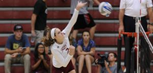 In a win against conference rival Iona on Sept. 9, freshman right side hitter Hailey Riede goes up for a spike in one of her nine kills in the match.