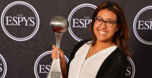 Rider alumna Daisy Rivadeneira recently got a job at ESPN and was able to pose with an ESPY on the day of the award ceremony.