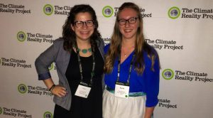 Alexandra Reynolds, left, and Sarah Bergen attend a conference on the Climate Reality Project in Miami, Florida on Sept. 28-30.