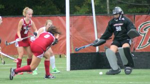 Junior midfielder Carlota Alsina rips one toward the net in a 3-1 win over Sacred Heart on Oct. 25.