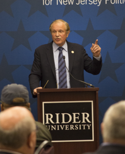 Senator Raymond Lesniak speaks in the Mercer Room on Oct. 20 about his plans to improve the state.