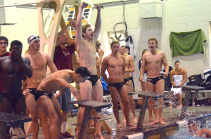 The men's 200-yard medley relay set a home pool record, finishing in 1:34.10 on Oct. 10.