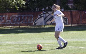 Freshman defender Meghan McCabe scores off a corner kick at home against Siena on Oct. 10.