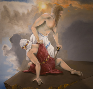 """Rider's current Art Gallery, """"Biblical Inspirations in a Secular Age,"""" features works based off of the Old Testament, including Marc Malberg's Moses and Aaron."""