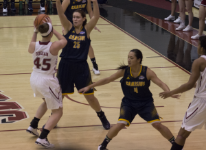 Junior center Julia Duggan registered 14 points and six rebounds in a road loss to UMBC on Nov. 21.