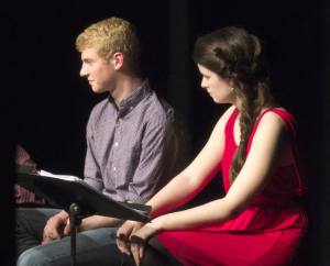 Freshman musical theater major Alex Coutts and senior musical theater major Abby Anderson portray siblings Peach and Cherry in staged reading of Ian August's play, Cobbler: A Recipe in 45 Scenes.