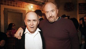 Todd Barry (left) with popular comedian Louie C.K. at Barry's birthday party last year. Barry performed his comedy routine at Rider on Feb. 13, even tailoring some of his jokes just for Rider students.