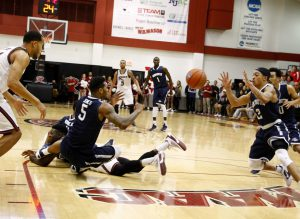 Trailing with 1:12 left, Monmouth steals the ball from senior guard Khalil Alford to cut the lead to 3.