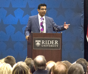 Former policy analyst Dinesh D'Souza speaks in the Cavalla Room.