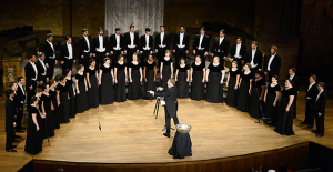 Conductor Joe Miller leads the Westminster Choir during the January tour Homecoming Concert in Richardson Auditorium in Princeton.