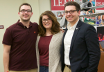 From left, newly elected vice president of interfraternity council recruitment Will Harmonay, senior class president and RUGC vice president of NPC recruitment Leah Corcillo and returning SGA president Ryan Hopely stand outside the BLC Theater, where the SGA general election results were announced.