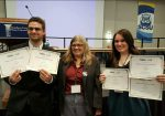 Thomas Albano and Alexis Schulz (right), finalists at the Society of Professional Journalists' Region 1 Mark of Excellence Awards, are shown with  Jane Primerano, interim regional  director of SPJ region 1.