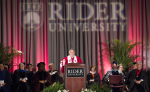 President Gregory Dell'Omo speaks at his installation ceremony on April 8 in Alumni Gym. He plans to revamp the Lawrenceville campus with building renovations and pursue development of a campus town.