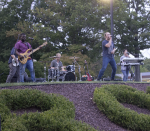 "Cover band ""Lost in Paris"" jams out on the berm during Rider's annual Cranberry Fest to welcome the 2016-17 school year."