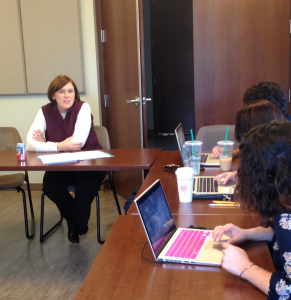 Newly-hired music education professor Dr. Rachel Brashier, who serves as an acting assistant professor at Westminster Choir College, speaks to her Critical Pedagogy Level Three class during a lecture about ciritical teaching theories.