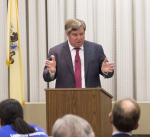 Tom Byrne, former Chairman of the New Jersey Democratic Party addresses the crowd during a Rebovich event.