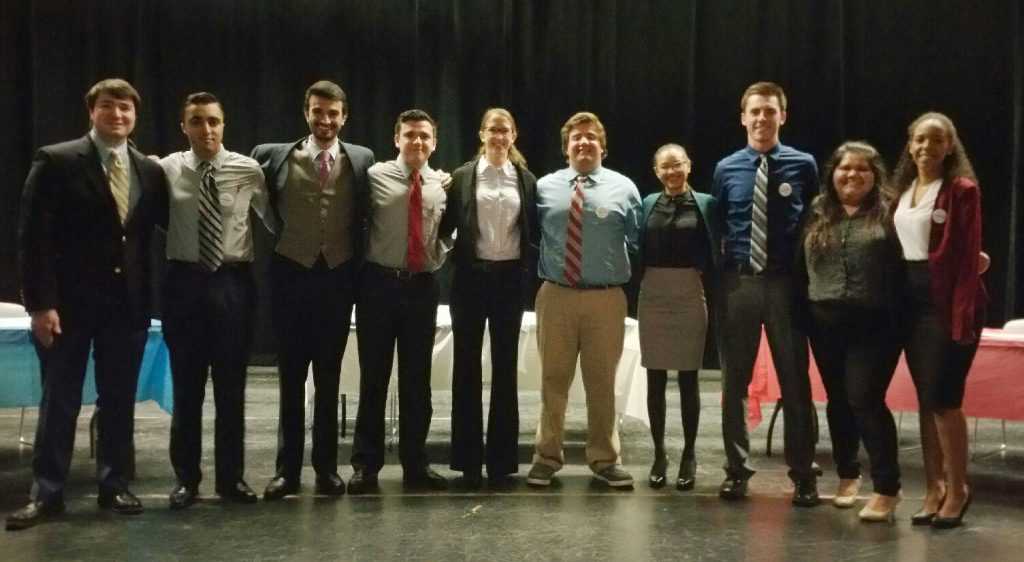 College Republican and Democrat members. From left to right: Alex Solomon, Joshua Aminov, Matthew Laurinavicius, Michael Lucido, Samantha Bender, Brendan Hanson, Lilly Miller, John Driscoll, Ruth Del Pino and Alexis Bailey.