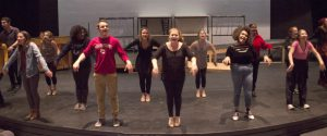 Students performing in the fall cabaret rehearse for the upcoming performance on Dec. 2 in the Yvonne Theater.