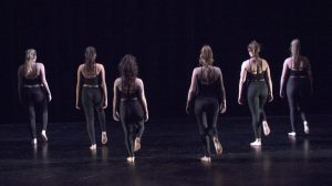 "Six members of the Rider Dance Ensemble performing ""That Look,"" choreographed by sophomore marketing major Victoria Miller."