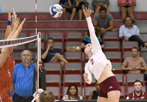 Sophomore Hailey Riede tied for a team-high six kills in the home win against Saint Peter's on Nov. 6