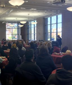 Students and alumni gather for a family weekend event on Nov. 5.